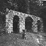 1960s. Lerryn Tivoli Park. Arches above Pond constructed by Frank Parkyn.  Land taken from woodland and levelled building created by