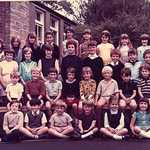 1969. Lerryn School Group Photograph<BR>Back Row: L-R. Bridget Bryant, Helen Todd, Amanda Clarke, Judy Watson, Yvonne Davey, Morwenna Stead, Tania Hoskin, Caroline Pearce, Dawn Brown.<BR>2nd Row: Mr Sillitoe, Trudy Searle, Rosamund Eddy, Annette Philp, Trudi Bryant, Michael Irwin, Duncan Hendry, Johnathan Pearce, Simon Bryant, Mrs Ferris.<BR>3rd Row: Gina Watson, Andrew Eddy, Nigel Vincent, Graham Hoskin, Dawn Searle, Wendy Searle, Hugo Montgomery Swan, David Hoskin, David Worth, Michael Casey.<BR>Front Row: Richard Stead, Roger Brown, Gary Davey, ?, Nicola Collett, Alison Baker.<BR>