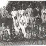 1939. Lerryn School, Group Photograph.<BR><BR>Back Row L-R: Jack Irwin, Phyllis Harfoot, Dorothy Clegg, Fred Fuller. Eva Collings, Evelyn Pomeroy, Dennis Martin, Miss Webber.<BR><BR>Second Row L-R: David Coombe, Ernest Scott, Percy Philp, Jean Hoskin, Jean Baker, Marcia Stick, Kathleen Hall, Kenneth Searle, Eric Baker, Howard Elvey, Tom Baker<BR><BR>Third Row L-R: Joe Clegg. Arthur Fraser, Esthermary Baker, Mavis Pengelley, Lorna Irwin, Molly Vessell, Ida Martin, Edna Jackson, Doris Hall, Brenda Fraser, Margaret Philp, ? Pomeroy. Front Row: Harry Fraser, Kenneth Jackson, Kenneth Hoskin, John Philp, Herbert Hoskin, ?, David Baker.<BR>