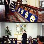 2000. St Veep Church. Trevor Langmaid admiring the Millenium kneeler in place at the altar rail