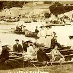 1900s Lerryn Regatta view of the south Bank before the Drill Hall was erected.