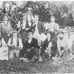 Lerryn Workers 1901/02<BR><BR>Back row L-R:  Jack Cundy, lived next to Ricardie; Charlie Wilcox of Blackdown, retired farmer used to drive a donkey cart to Polperro for fish.<BR><BR>Middle row L-R:  Bill Cundy, son of Jack, Harry Mutton, (blacksmith) of Forge Cottage; Hedley Martin (mason); Billy Swiggs (general merchant), dealing in coal, fertilisers, bricks, cement brought up at high tide in sailing barges ('The Rival', 'William Gladstone');<BR><BR>Front row L-R:  David Mutton (painter & decorator); Richard Bowden (carpenter); Tommy Littleton, son of farmer at Ribby (delivered  coal); Tom Wilcox (trapper, holding ferret, and quarry worker); Richard Philp (road worker), father of Mrs Holten of Ricardie.