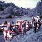 2003. Penpol. Church Walk.  Boarding the boats for the return journey to Lerryn, having walked eight miles around the lanes, near the Parish boundary. Penpol Creek and Lerryn river form the rest of the boundary.