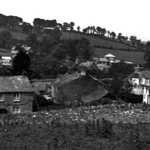 1930s. Lerryn Village. Sweet Briar cottage on left. Chapel on right.