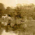 1960s. Lerryn River. The Mill, cottages and the School from the north bank near the stepping stones.