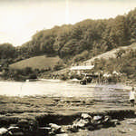 1920s. Leryn River, view downstream from the stepping stones (no houseboat).