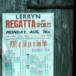 Poster for the Lerryn Regatta, Tivoli Park. The date (Monday August 26) and the tide (HW 1830, 5.7m) indicate 1957 as the most probable year (MF).