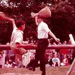 Pillow fight, Tivoli Park. Lerryn Regatta, 1957.