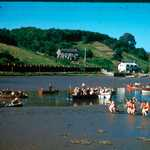 Lerryn Regatta, 1957. Start of the mud race.  Woodview landing stage on N. bank (cottage enlarged, cf.No.189) before the building of the present