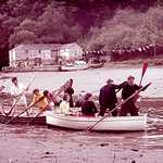 First-up-the-river race. Lerryn Regatta, 1957.