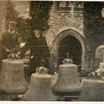 1935. St Veep churchyard, re-hanging the bells. Medieval bellframe replaced by John Taylor Bell Founders of Loughborough. The people present are; a parishioner, the contractors representative and Rev'd William G.W. Sara