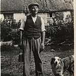1930s. Mixton Farm. Hiram Hoskin with dog Tim.
