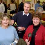 2003. Ros Hawken, Peter Bucknell, Carol Langmaid at a soups & sweets fund-raising event.