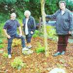 Cornish Guardian October 27, 2005. Refurbished garden in Lerryn View estate. Shane Uldridge, Wendy Lewis and Monica Irwin